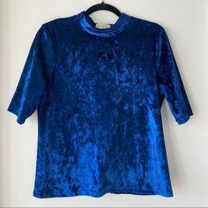 Royal Blue Crushed Velvet Blouse